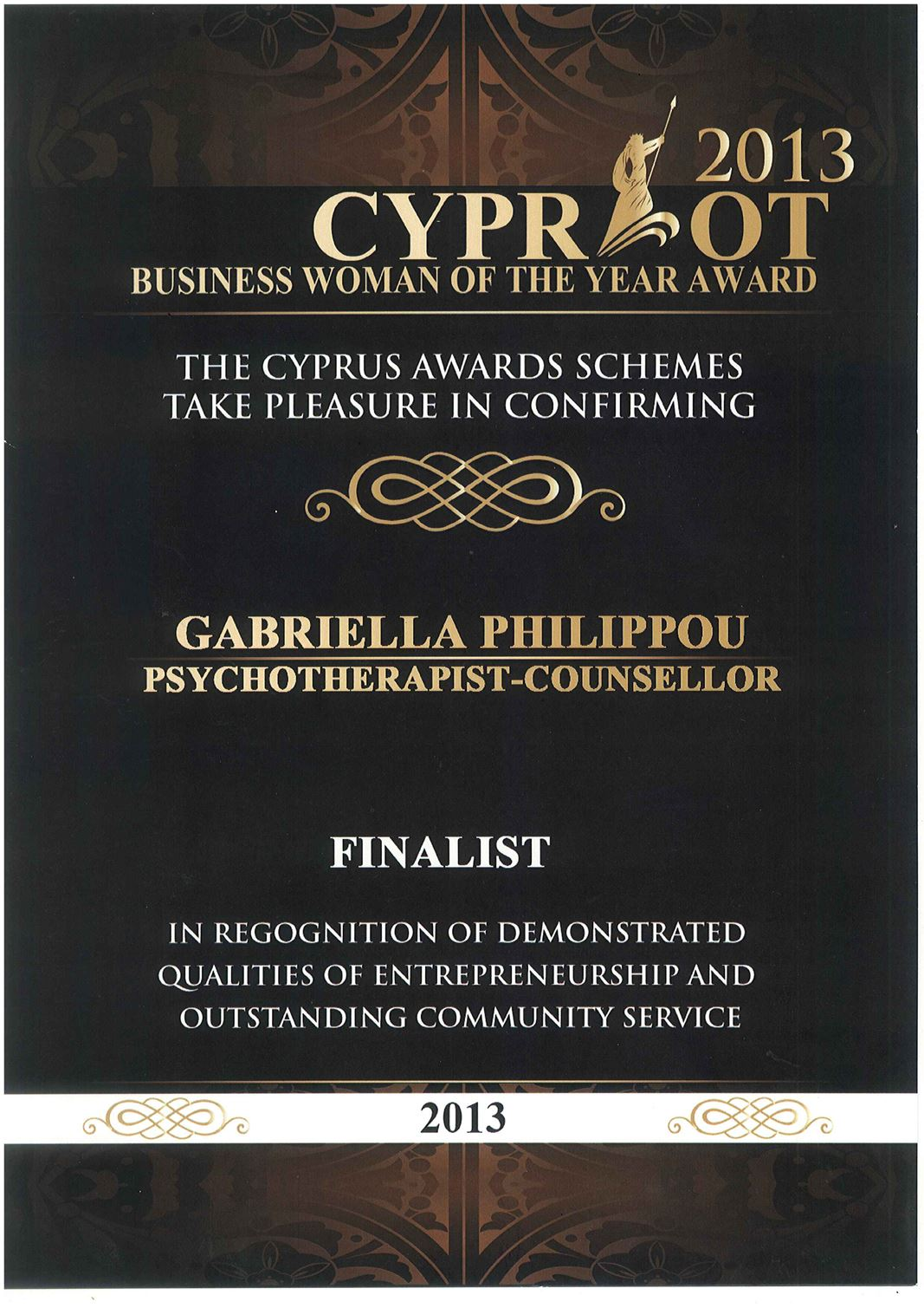 2013 - Cypriot Woman of the Year