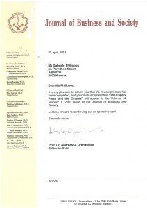2001 - Journal of Business & Socialty